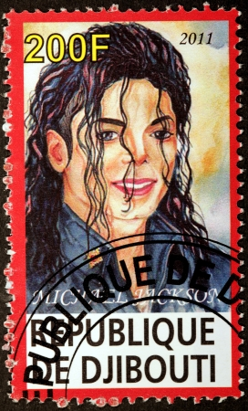 DJIBOUTI - CIRCA 2011: A stamp printed by DJIBOUTI shows image portrait of famous American singer, songwriter, dancer, businessman and philanthropist Michael Jackson, circa 2011