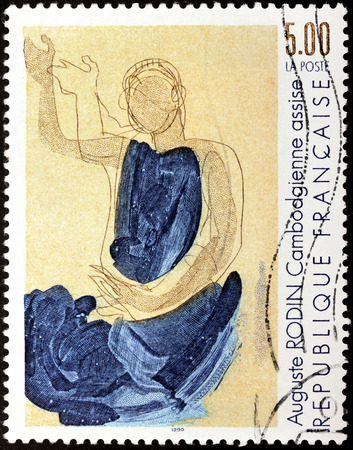 rodin: FRANCE - CIRCA 1990: A stamp printed by FRANCE shows image of Cambodian Dancer (Danseuse Cambodgienne) by Auguste Rodin, circa 1990