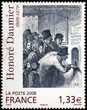printmaker: FRANCE - CIRCA 2008: A stamp printed by FRANCE shows image of picture The Ticket Window (Un guichet de théâtre) by French printmaker, caricaturist and painter Honore Daumier, circa 2008 Editorial