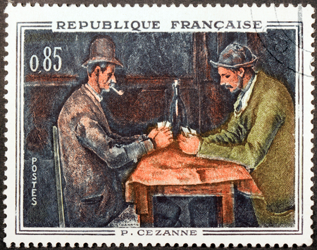 FRANCE - CIRCA 1661: A stamp printed by FRANCE shows Painting The Card Players (Les Joueurs de cartes) by French painter Paul Cezanne (Cézanne), circa 1961