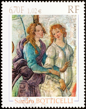 FRANCE - CIRCA 2000: A stamp printed by FRANCE shows Detail of Venus and The Three Graces by Italian painter of the Early Renaissance Sandro Botticelli, circa 2000 Editorial