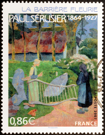 FRANCE - CIRCA 2007: A stamp printed by FRANCE shows painting The Flowery Fence (La Barriere Fleurie, Le Pouldu) by French Post-Impressionist painter Paul Serusier, circa 2007