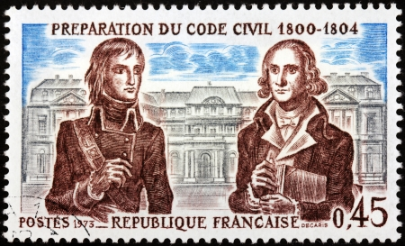 FRANCE - CIRCA 1973: A stamp printed by FRANCE shows image portraits of Napoleon Bonaparte and French jurist and politician Jean-Etienne Marie Portalis, circa 1973