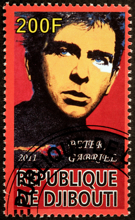 english famous: DJIBOUTI - CIRCA 2011: A stamp printed by DJIBOUTI shows image portrait of famous English singer, songwriter, musician and humanitarian activist Peter Brian Gabriel, circa 2011