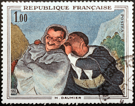 printmaker: FRANCE - CIRCA 1966: A stamp printed by FRANCE shows image of picture Crispin and Scapin by French printmaker, caricaturist and painter Honore Daumier, circa 1966