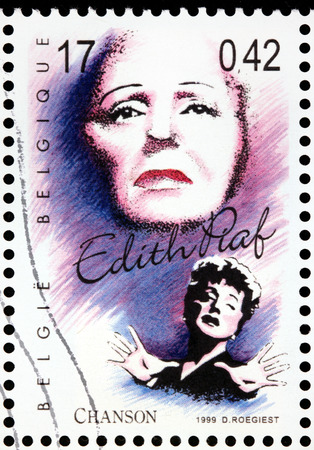 edith: BELGIUM - CIRCA 1999: A stamp printed by BELGIUM shows image portrait of a famous French singer Edith Piaf, circa 1999.