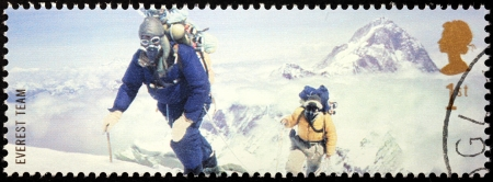 UNITED KINGDOM - CIRCA 2003: a stamp printed by UNITED KINGDOM shows Mont Everest first successful ascent by Edmund Hillary and Tenzing Norgay (1953), circa 2003.