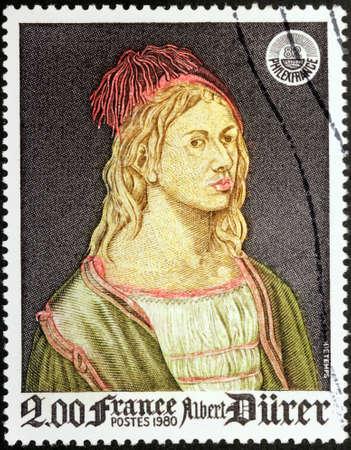 engraver: FRANCIA - CIRCA 1980: Un timbro stampato dalla Francia mostra Self-Portrait del pittore tedesco, incisore e incisore Albrecht Durer (Albrecht D�rer), circa 1980 Editoriali