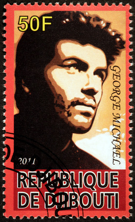 DJIBOUTI - CIRCA 2011: A stamp printed by DJIBOUTI shows image portrait of famous English musician, singer, songwriter, multi-instrumentalist and record producer George Michael, circa 2011