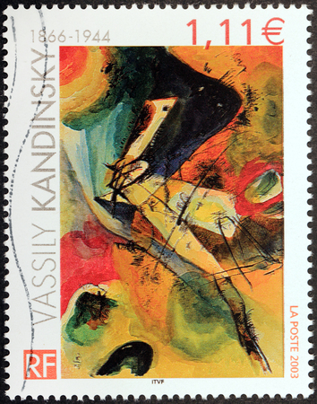 kandinsky: FRANCE - CIRCA 2003: A stamp printed by FRANCE shows Abstract Painting by Russian painter and art theorist Vassily Kandinsky, circa 2003 Editorial