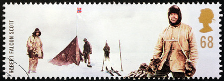 robert: UNITED KINGDOM - CIRCA 2003: a stamp printed by UNITED KINGDOM shows Royal Navy officer and explorer Robert Falcon Scott who led two expeditions to the Antarctic, circa 2003. Editorial