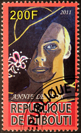 annie: DJIBOUTI - CIRCA 2011: A stamp printed by DJIBOUTI shows image portrait of Scottish singer, songwriter, political activist and philanthropis Annie Lennox, circa 2011