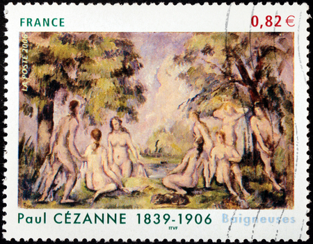 bathers: FRANCE - CIRCA 2006: A stamp printed by FRANCE shows Painting Bathers (Baigneuses) by French painter Paul Cezanne (Cézanne), circa 2006