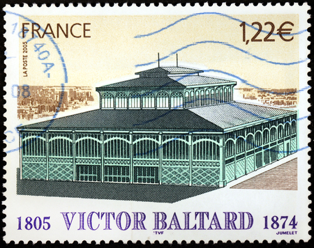 FRANCE - CIRCA 2005: A stamp printed by FRANCE shows view of Cattle market of Les Halles de la Villette by French architect Victor Baltard, circa 2005