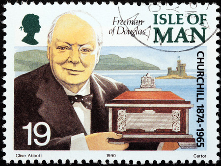 winston: ISLE OF MAN - CIRCA 1990: a stamp printed by GREAT BRITAIN shows image portrait of famous British statesman, Prime Minister of the United Kingdom Sir Winston Churchill, circa 1990