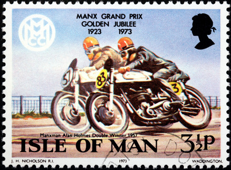 alan: ISLE OF MAN - CIRCA 1973: a stamp printed by GREAT BRITAIN shows winner of Manx Grand Prix motorcycle races (MGP) Alan Holmes, circa 1973. Editorial