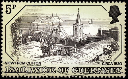 guernsey: GUERNSEY - CIRCA 1978: A stamp printed by UNITED KINGDOM shows view from Clifton, Guernsey (Oldtime Engraving, 1830), circa 1978