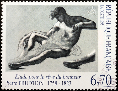 etude: FRANCE - CIRCA 1995: A stamp printed by FRANCE shows Design The Dream of Happiness (Etude pour le reve du bonheur) by  French Romantic painter and draughtsman Pierre Prudhon, circa 1995 Editorial