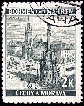 olomouc: CZECHOSLOVAKIA - CIRCA 1942: a stamp printed by Czechoslovakia (German Occupation Issues) shows birds-eye view of The Holy Trinity Column in Olomouc , circa 1942.