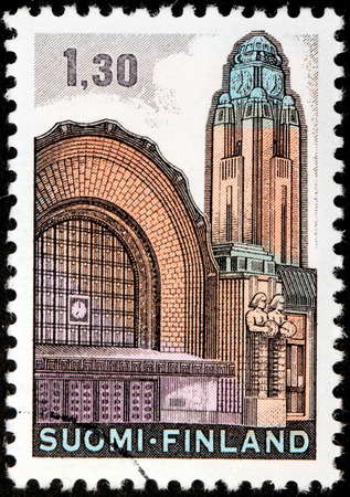 FINLAND - CIRCA 1971: A stamp printed by FINLAND shows Helsinki Main Railway Station, circa 1971.