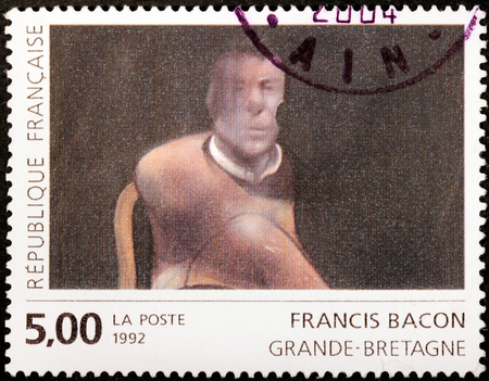 bacon portrait: FRANCE - CIRCA 1992: A stamp printed by FRANCE shows Study for the Portrait of John Edward by Irish-born British figurative painter Francis Bacon, circa 1992