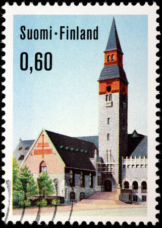 FINLAND - CIRCA 1973: A stamp printed by FINLAND shows National Museum of Helsinki (Suomen kansallismuseo), circa 1973