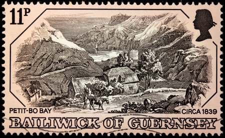 GUERNSEY - CIRCA 1978: A stamp printed by UNITED KINGDOM shows view of The Petit-Bo Bay, Guernsey (Oldtime Engraving, 1839), circa 1978  Editorial