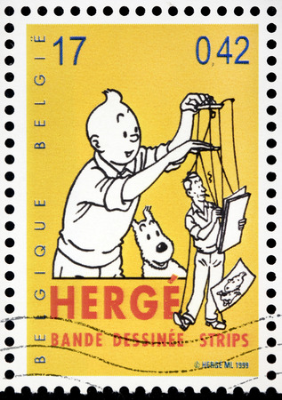 BELGIUM - CIRCA 1999: A stamp printed by BELGIUM shows image of Tintin with his dog Snowy, circa 1999.
