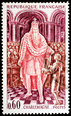 FRANCE - CIRCA 1966: a stamp printed by FRANCE shows image portrait of emperor Charlemagne, also known as Charles the Great or Charles I, circa 1966