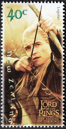 trilogy: NEW ZEALAND - CIRCA 2001: A stamp printed by New Zealand, shows Legolas (Orlando Bloom) Shooting with Bow in Lord of Rings Trilogy, circa 2001