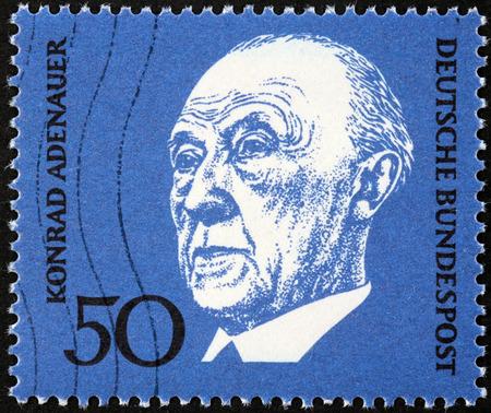 statesman: GERMANY - CIRCA 1968: A stamp printed by GERMANY shows image portrait of German statesman Konrad Hermann Joseph Adenauer, circa 1968