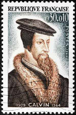 reformation: FRANCE - CIRCA 1964: A stamp printed by FRANCE shows image portrait of influential French theologian and pastor during the Protestant Reformation John Calvin ( Jean Calvin), circa 1964