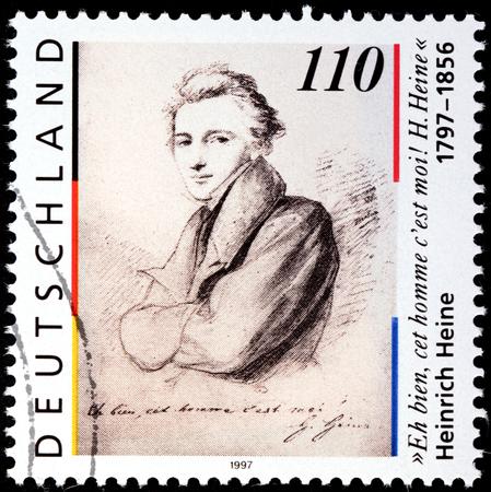 essayist: GERMANY - CIRCA 1997: A stamp printed by GERMANY shows image portrait of German poet, journalist, essayist, and literary critic Christian Johann Heinrich Heine, circa 1997