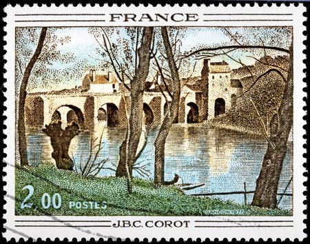 printmaker: FRANCE - CIRCA 1977: A stamp printed by FRANCE shows Painting Mantes Bridge by French landscape painter and printmaker in etching Jean-Baptiste-Camille Corot, circa 1977