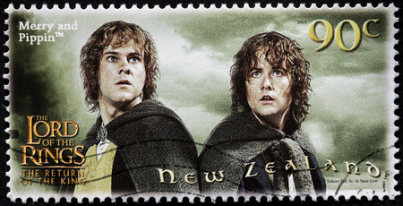 NEW ZEALAND - CIRCA 2003: stamp printed by New Zealand shows Scene from The Lord of the Rings fantasy film (Billy Boyd as Pippin and Dominic Monaghan as Merry), circa 2003 Editorial