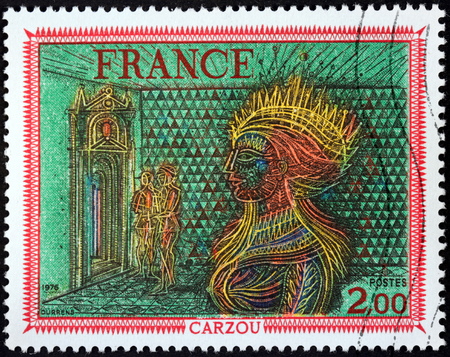 printmaker: FRANCE - CIRCA 1976: A stamp printed by FRANCE shows Painting Womans Head by French Armenian artist, painter and illustrator Jean Carzou, circa 1976