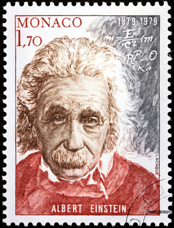 MONACO - CIRCA 1979: A stamp printed by MONACO shows image portrait of famous American physicist Albert Einstein (1879-1955), circa 1979.
