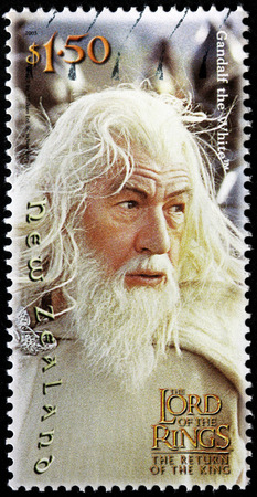 NEW ZEALAND - CIRCA 2003: stamp printed by New Zealand shows Scene from The Lord of the Rings fantasy film (Ian McKellen as Gandalf the White), circa 2003