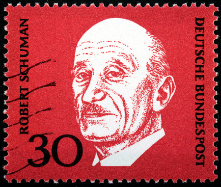 robert: GERMANY - CIRCA 1968: A stamp printed by GERMANY shows image portrait of famous French statesman Jean-Baptiste Nicolas Robert Schuman, circa 1968