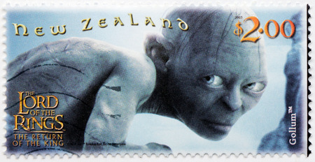 trilogy: NEW ZEALAND - CIRCA 2003: stamp printed by New Zealand shows Scene from The Lord of the Rings fantasy film (Gollum), circa 2003 Editorial