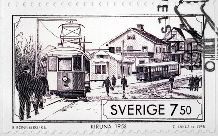 kiruna: SWEDEN - CIRCA 1995: A stamp printed by SWEDEN shows view of Kiruna at 1958. Kiruna is the northernmost town in Sweden, situated in the province of Lapland, circa 1995.