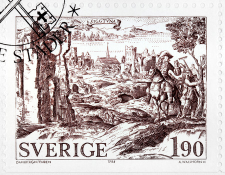 SWEDEN - CIRCA 1984: a stamp printed by SWEDEN shows ancient engraving of Sigtuna town. Sigtuna is a locality situated in Sigtuna Municipality, Stockholm County, Sweden, circa 1984.