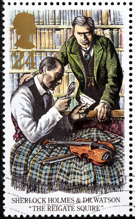 woodcut: UNITED KINGDOM - CIRCA 1993: A stamp printed by GREAT BRITAIN shows Sherlock Holmes and Dr. Watson. The Adventure of the Reigate Squire -  short story by British author Arthur Conan Doyle, circa 1993 Editorial