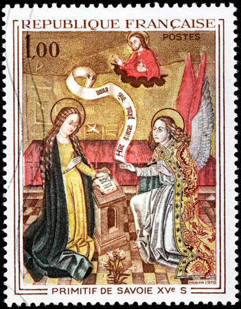 angel gabriel: FRANCE - CIRCA 1970: A stamp printed by FRANCE shows painting Annunciation - Primitif  Painter of Savoy (15 Century), circa 1970
