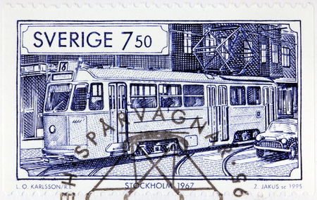 SWEDEN - CIRCA 1995: A stamp printed by SWEDEN shows view of Stockholm at 1967. Stockholm is the capital of Sweden, circa 1995.