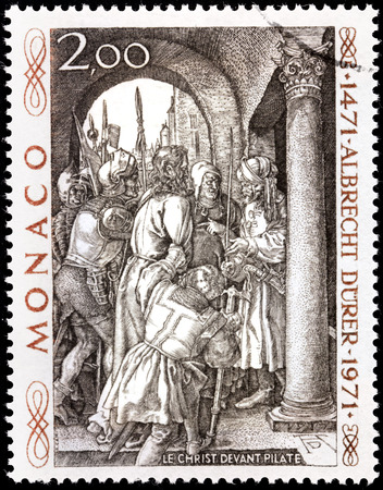 printmaker: MONACO - CIRCA 1971: A stamp printed by MONACO shows engraving Christ before Pilate by German painter, engraver and printmaker Albrecht Durer (Duerer), circa 1971.