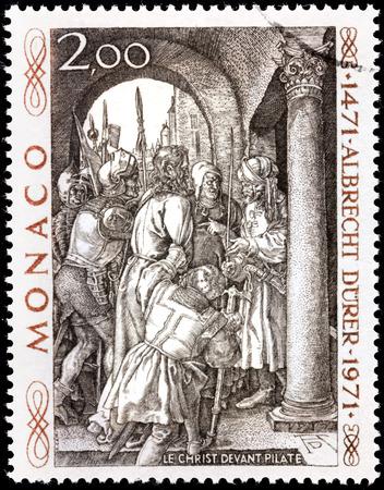 durer: MONACO - CIRCA 1971: Un timbro stampato da MONACO mostra Incisione Cristo davanti a Pilato dal pittore tedesco, incisore e incisore Albrecht Durer (Duerer), circa 1971.