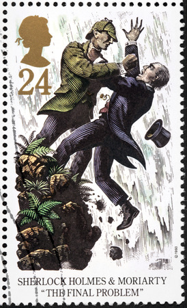 UNITED KINGDOM - CIRCA 1993: A stamp printed by GREAT BRITAIN shows Sherlock Holmes and  Professor Moriarty. The Final Problem is a short story by British author Arthur Conan Doyle, circa 1993