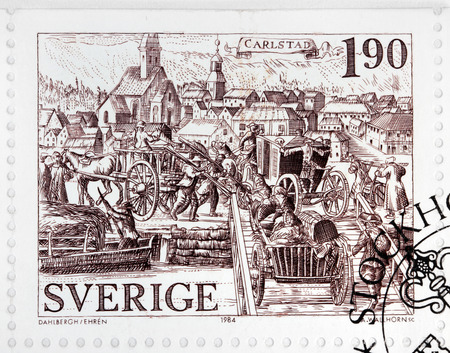 karlstad: SWEDEN - CIRCA 1984: a stamp printed by SWEDEN shows ancient engraving of Karlstad - the largest city in the province Varmland in Sweden, circa 1984.