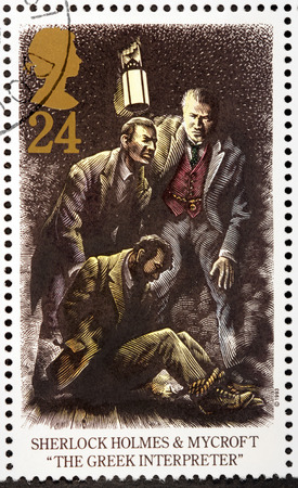 interpreter: UNITED KINGDOM - CIRCA 1993: A stamp printed by GREAT BRITAIN shows Mycroft and Sherlock Holmes. The Adventure of the Greek Interpreter is a short story by Arthur Conan Doyle, circa 1993